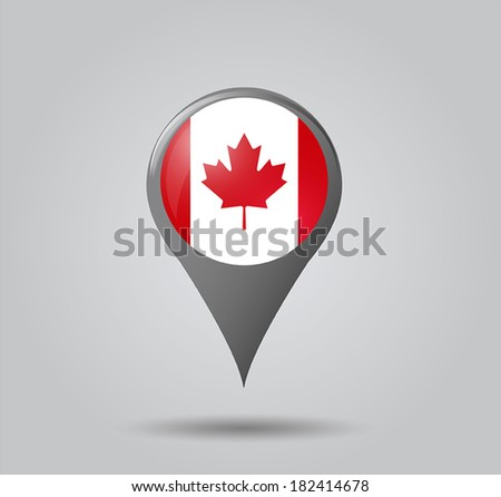 Map pointers with flag and 3D effect on grey background - Canada - stock vector