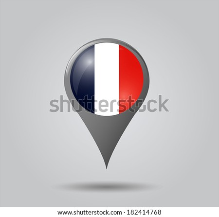 Map pointers with flag and 3D effect on grey background - France - stock vector