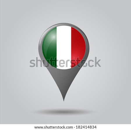 Map pointers with flag and 3D effect on grey background - Italy - stock vector
