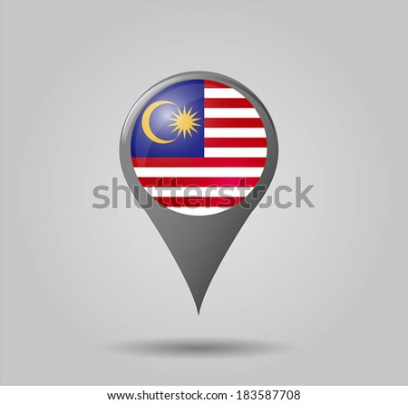 Map pointers with flag and 3D effect on grey background - Malaysia - stock vector