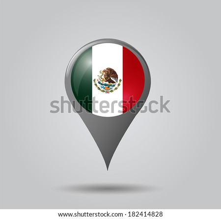 Map pointers with flag and 3D effect on grey background - Mexico - stock vector