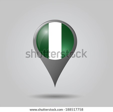 Map pointers with flag and 3D effect on grey background - Nigeria - stock vector