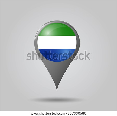 Map pointers with flag and 3D effect on grey background - Sierra Leone - stock vector
