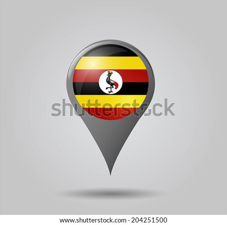 Map pointers with flag and 3D effect on grey background - Uganda - stock vector