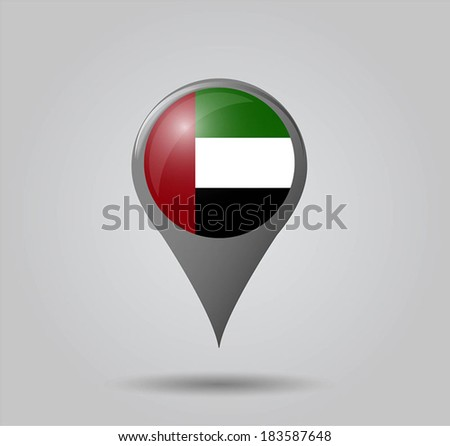 Map pointers with flag and 3D effect on grey background - United Arab Emirates - stock vector
