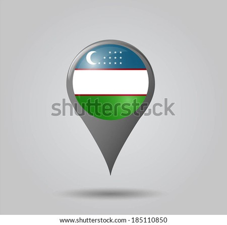 Map pointers with flag and 3D effect on grey background - Uzbekistan - stock vector