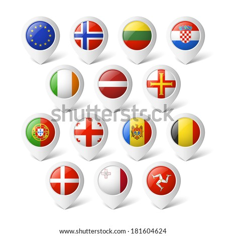 Map pointers with flags. Europe.  - stock vector