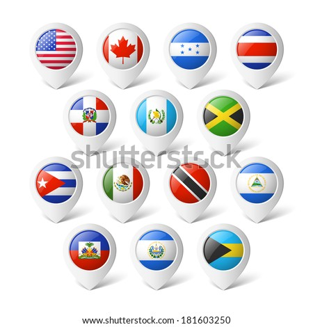 Map pointers with flags. North America. - stock vector