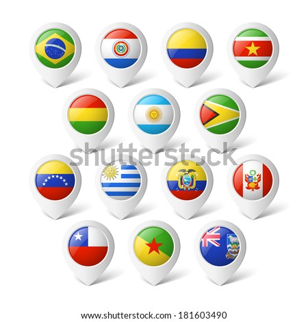Map pointers with flags. South America. - stock vector