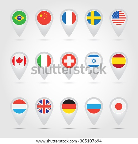 Map pointers with flags. World. - stock vector