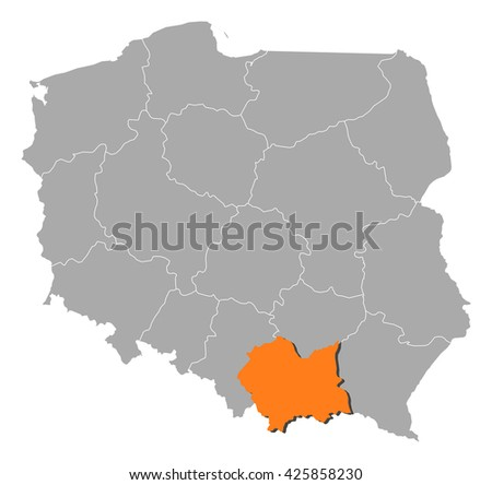 Map - Poland, Lesser Poland - stock vector