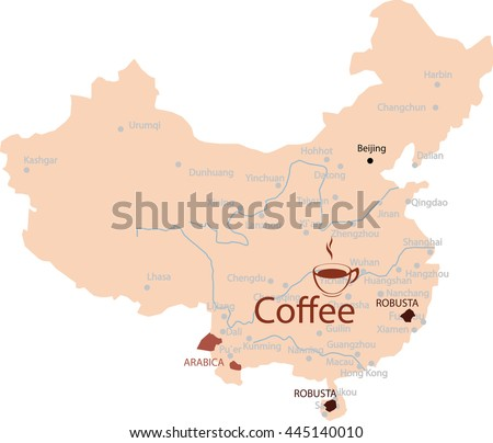map region chine coffee - stock vector
