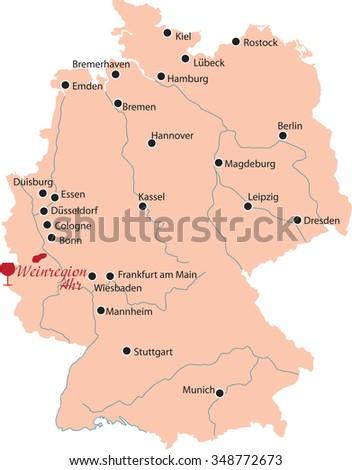 Map Region Ahr Germany Stock Vector 348772673 Shutterstock