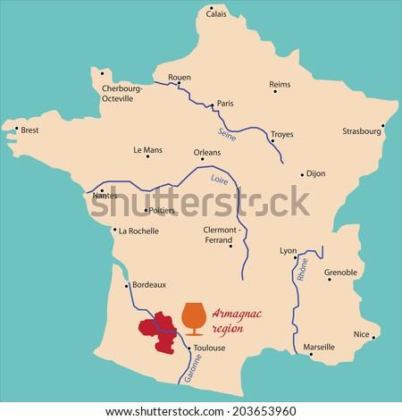map region of armagnac in France - stock vector