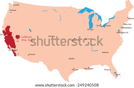 map region of california in United States - stock vector