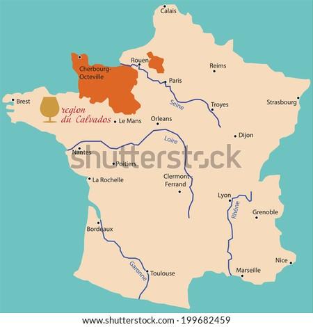 Map Region Calvados France Stock Vector 2018 199682459 Shutterstock