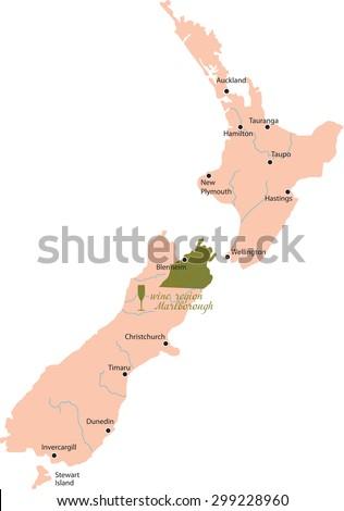 map region of Marlborough in New zealand - stock vector