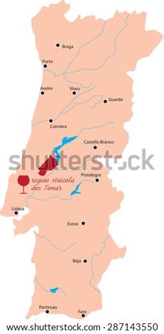 Map Region Tomar Portugal Stock Vector Shutterstock - Portugal map tomar