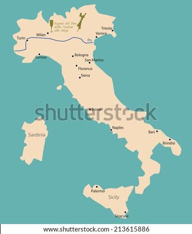Map Region Veneto Trentino Alto Adige Stock Vector 213615886