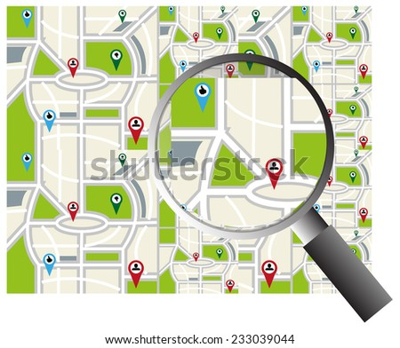 Map search - stock vector