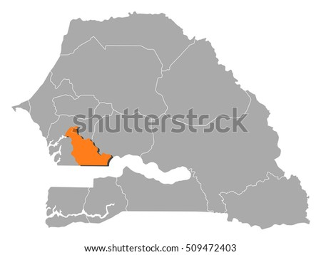 Map Senegal Kaolack Stock Vector 2018 509472403 Shutterstock