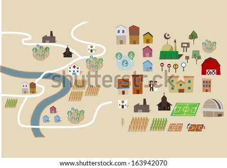 Map set collection flat. Vector illustration - stock vector