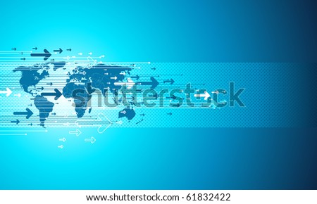 Map site business. Digital vector templete in blue. - stock vector