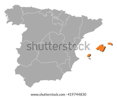 Map - Spain, Balearic Islands - stock vector