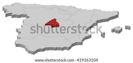 Map - Spain, Madrid - 3D-Illustration - stock vector