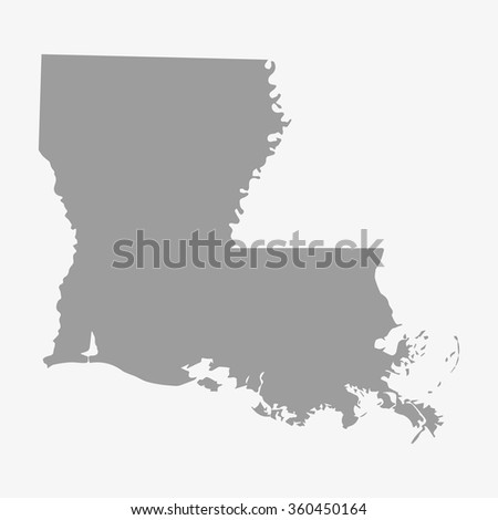 Map  State of Louisiana in gray on a white background - stock vector