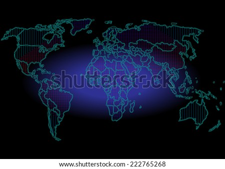 Map stripes background,Abstract computer graphic World map of blue round dots. Vector illustration.