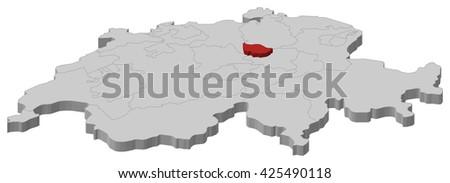 Map - Swizerland, Zug - stock vector