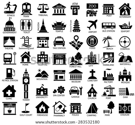 map symbol icon set, place of government, official, religious, cabaret, public health, travel, transport, relaxation, museum, airport, hospital, station, park, academy, gas station, stadium, city, dam - stock vector