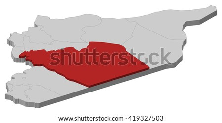 Map Syria Homs 3dillustration Stock Vector 419327503 Shutterstock