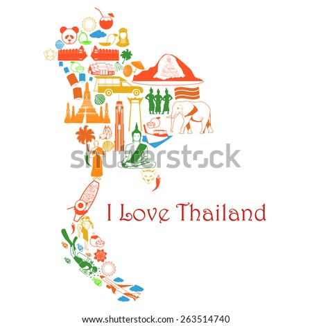 Map Thailand Thai Symbols Form Map Stock Vector Royalty Free