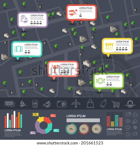 Map & travel & vacation info graphics - charts, symbols, elements and icons collection for building a nice infographic
