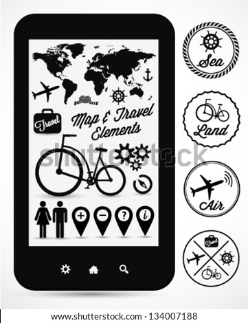 Map & Travel Vector Elements and Badges - stock vector