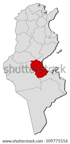 Map Tunisia Gabes Stock Vector 509775556 Shutterstock
