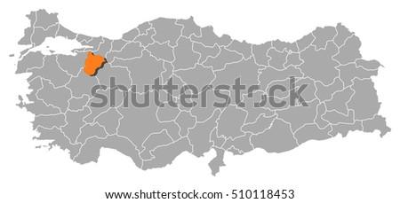 Map Turkey Bilecik Stock Vector 510118453 Shutterstock