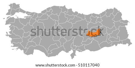Map Turkey Elazig Stock Vector 510117040 Shutterstock