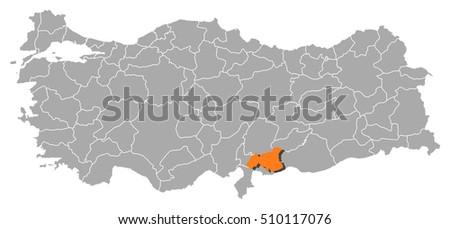 Map Turkey Gaziantep Stock Vector 510117076 Shutterstock