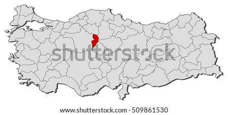 Map Turkey Kirikkale Stock Vector 509861530 Shutterstock