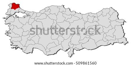 Map Turkey Kirklareli Stock Vector 509861560 Shutterstock