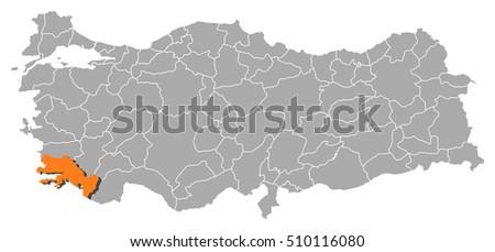 Map Turkey Mugla Stock Vector 510116080 Shutterstock