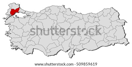 Map Turkey Tekirdag Stock Vector 509859619 Shutterstock