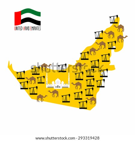Map United Arab Emirates (UAE). Desert and oil rigs. Infographics minerals oil and animal world: camels. Abu Dhabi Sheikh Zayed White Mosque. Vector illustration - stock vector