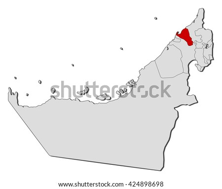 Map United Arab Emirates Umm Alquwain Stock Vector 424898698