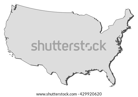 United States Map High Detailed Border Stock Vector - Map ofunited states