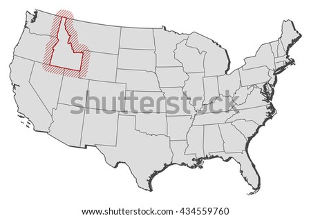 Map - United States, Idaho - stock vector