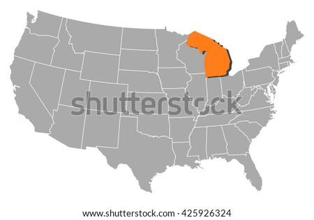 Map United States Ohio Stock Vector Shutterstock - Michigan map united states